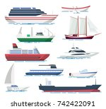 sea ship and boats set.... | Shutterstock .eps vector #742422091