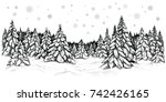 Winter Coniferous Trees Forest...