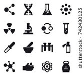 16 vector icon set   molecule ... | Shutterstock .eps vector #742430125