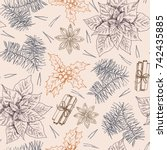 hand drawn christmas pattern... | Shutterstock .eps vector #742435885