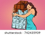 woman hugs chocolate  love... | Shutterstock .eps vector #742435939