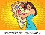 woman hugging a pizza | Shutterstock .eps vector #742436059