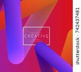 abstract 3d liquid fluid color... | Shutterstock .eps vector #742437481