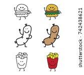 funny junk food vector... | Shutterstock .eps vector #742438621