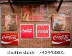 coca cola metal sign past to... | Shutterstock . vector #742443805