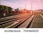 rail tracks in graz  austria.   Shutterstock . vector #742460425