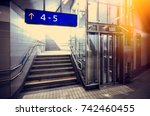 underground passage with stairs ... | Shutterstock . vector #742460455