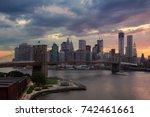 brooklyn bridge and skyscrapers ... | Shutterstock . vector #742461661