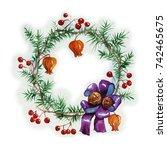 christmas wreath in watercolor. ... | Shutterstock . vector #742465675