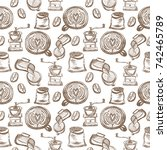 vector seamless hand drawn...   Shutterstock .eps vector #742465789