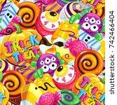 happy halloween sweet seamless... | Shutterstock .eps vector #742466404