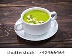 broccoli cream soup | Shutterstock . vector #742466464