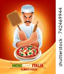 pizza chef banner | Shutterstock .eps vector #742469944