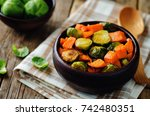 roasted sweet potato and... | Shutterstock . vector #742480351