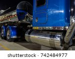 Blue Semi Truck With Tanker...