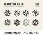 set of eight minimalistic... | Shutterstock .eps vector #742489741