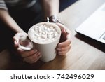 cup of coffee with marshmallows ...   Shutterstock . vector #742496029