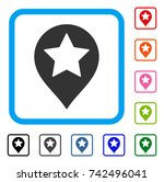 star map marker icon. flat gray ... | Shutterstock .eps vector #742496041