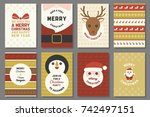 merry christmas typography and... | Shutterstock .eps vector #742497151