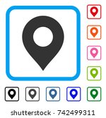 map marker icon. flat grey... | Shutterstock .eps vector #742499311