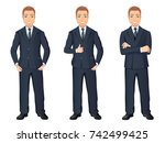 business man in dark blue suit... | Shutterstock .eps vector #742499425