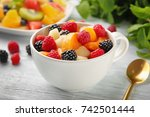 Cup With Delicious Fruit Salad...