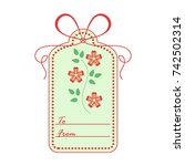 gift tag with leaves and... | Shutterstock .eps vector #742502314