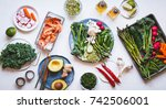 healthy food group variety...   Shutterstock . vector #742506001