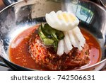 korean style cold noodle on the ...   Shutterstock . vector #742506631