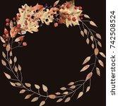watercolor autumn leaves wreath ... | Shutterstock . vector #742508524