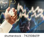 candlestick chart graphic and... | Shutterstock . vector #742508659