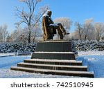 Small photo of Staraya Russa, Russia - January 8, 2016 - a monument to the famous Russian writer Fyodor Dostoevsky in cold winter day.