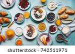 breakfast abundance meal... | Shutterstock . vector #742511971