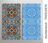 vertical seamless patterns set  ... | Shutterstock .eps vector #742513474