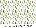 vintage wild flowers. seamless... | Shutterstock . vector #742515865