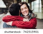 beautiful female with happy... | Shutterstock . vector #742515901