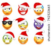 smiley emoticon set. yellow... | Shutterstock .eps vector #742523665