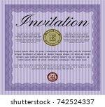 violet vintage invitation. with ...   Shutterstock .eps vector #742524337