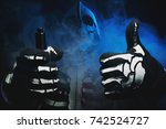 man in a terrible mask and... | Shutterstock . vector #742524727