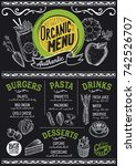 organic menu for restaurant and ... | Shutterstock .eps vector #742526707