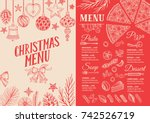 christmas food menu for... | Shutterstock .eps vector #742526719
