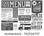 food truck menu for street... | Shutterstock .eps vector #742526737