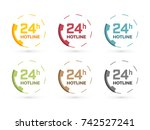 colorful phone icon 24 hours...   Shutterstock .eps vector #742527241