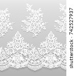 seamless vector white lace... | Shutterstock .eps vector #742527937