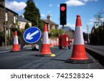 traffic cones and a sign with a ... | Shutterstock . vector #742528324