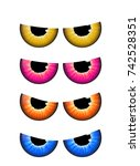 spooky eyes set  vector  design ... | Shutterstock .eps vector #742528351
