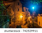 Small photo of Colorful Old Town of Omis, Croatia at Night, Fortress Mirabela