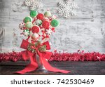christmas cake pops served on... | Shutterstock . vector #742530469
