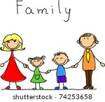 happy family holding hands and... | Shutterstock .eps vector #74253658