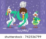 two goose holding the number 79....   Shutterstock .eps vector #742536799